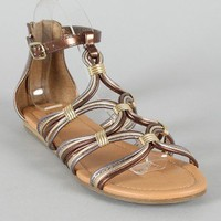 Soda Choose-S Metallic Strappy Open Toe Flat Sandal