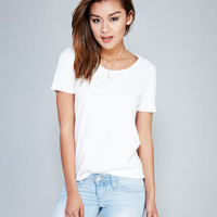 Slub Knit Basic Scoop Tee | Wet Seal