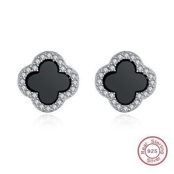 Different sizes 925 sterling silver shell black four leaf clover earring for women (DE084)