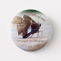 Silver Skipper Butterfly Button