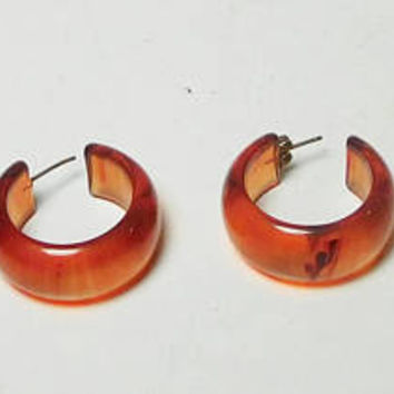 Small Chunky Earrings, Amber, Brown, Translucent, Plastic, Lucite, Open End, Hoop, Never Worn, Vintage, Costume Jewelry, Backs Included