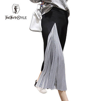 [TWOTWINSTYLE] 2016 Summer Irregular Wide Leg Pants Women Striped Black White Pleated Spliced Casual New