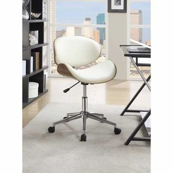 Mid-Century Small-Back Home Office Chair, White/Walnut