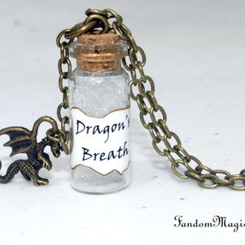 Dragon's Breath Necklace with a Dragon Charm, Smaug, The Hobbit, Middle-earth, Lonely Mountain, J.R.R. Tolkien, Benedict Cumberbatch