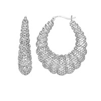 Sterling Silver with Rhodium Finish Stampato Mesh Fancy Oval Shrimp Hoop Earrings