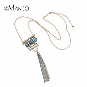 eManco statement long tassel necklace women with stone suspensions pendant geometric bohemia vintage necklace Jewerly 2017