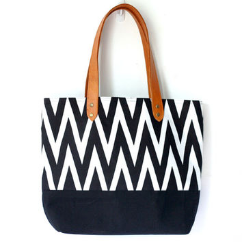Chevron Bag, Black and White Chevron tote bag with leather handles, beach bag, canvas and leather bag