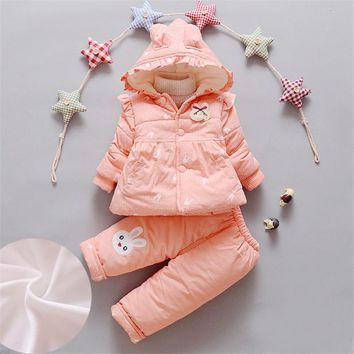 BibiCola Baby Clothing Sets Girls Winter Thicken Warm Clothes Children Snow Wear Cartoon Hooded+Pants Tracksuit  Kids Girls Sets