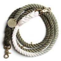 FOUND 100% Cotton Rope Dog Leash Hand Dyed in Olive Fade - Brass