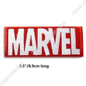"3.5"" Marvel LOGO Comic Embroidered Patch Avengers TV Series Movie Embroidered Iron On Patches for clothing red & white"
