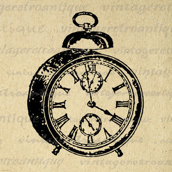 Digital Printable Alarm Clock Graphic Illustration Image Download Antique Clip Art for Transfers Printing etc HQ 300dpi No.1416