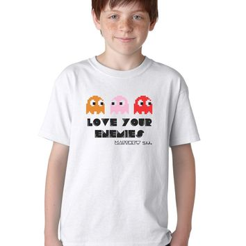 Love Your Enemies Retro Arcade Gaming Christian T-Shirt for Kids