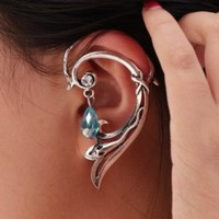 Gothic Ear Cuff Small Snake Wrap Stud Earring for Left Ear w/ Bead 4x6.5cm