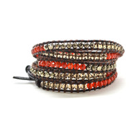 HOLIDAY CLEARANCE!  Retro Red & Gold Colored Semi-Precious Stones On Genuine Leather Wrap, 5 wrap 34 in
