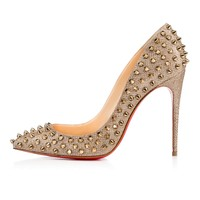 FOLLIES SPIKES GLITTER LUMINOR, GOLD/BRONZE, Glitter, Women Shoes, Louboutin.
