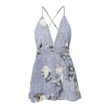 You'll Want Me More Blue Floral Stripe Pattern Sleeveless Spaghetti Strap Cross Wrap V Neck Ruffle Backless Romper Playsuit