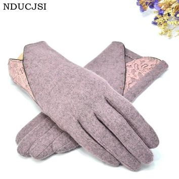 NDUCJSI Women Cashmere Adult Gloves Fashion Beads Female Gloves Autumn Winter Warm Lace Warmer Wrist Mitts Full Finger Mittens
