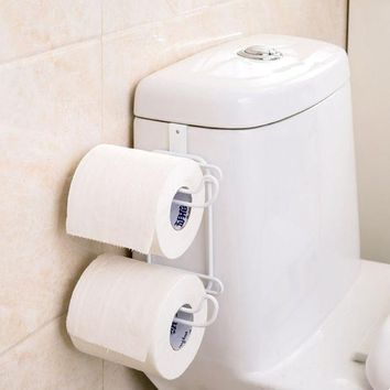 VONC1Y 2 Roll Toilet Paper Tissue Holder Kitchen Multifunction Paper and Towel Holer with Hook