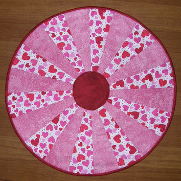 Pink and Red Valentines Day Quilted Table Topper