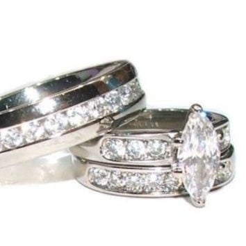 His & Hers 3 Piece Marquise Cut Cz  Wedding Engagement Ring Set Stainless Steel