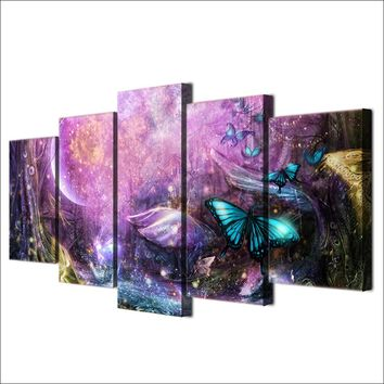 5 piece Wall Art on Canvas for Living Room Psychedelic Light Butterflies