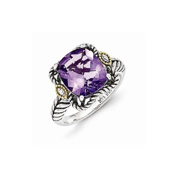 Sterling Silver w/14k Gold Antiqued Amethyst and Diamond Ring