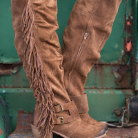 Fearlessly Free Knee High Suede Fringe Boots-TAN