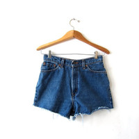 Vintage LEVIS shorts. Cut off denim shorts. Worn in distressed denim shorts.