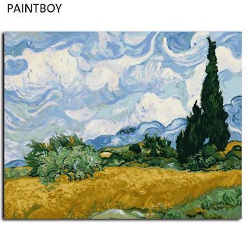 Van Gogh Oil Painting Framed Picture Painting By Numbers Abstract Landscape DIY Digital Canvas Oil Painting Wall Art G415