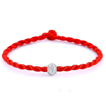 2016 hot sale Fashion Red Color String Together The Happiness Silver Plated Rope Chain Charm Bracelet Jewelry Top Quality