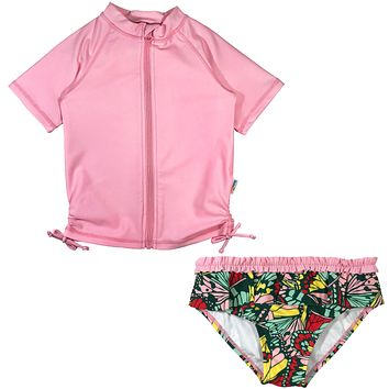 "Girl Rash Guard Swimsuit Set (2 Piece) UPF 50+ | ""Butterfly Love"""