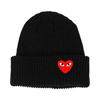 New Winter Hats Heart Shaped Cartoon Knitted Thick Beanies Casual Woman's Outdoor Street Dance Lady Fitted Caps Hat Female