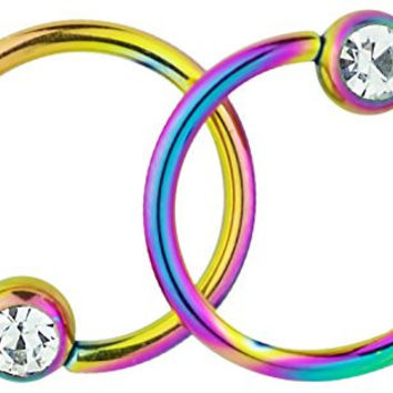 Pair of 2: 14g 1/2 Inch Surgical Steel Rainbow Titanium IP Jeweled Captive Bead CBR Hoop Earrings