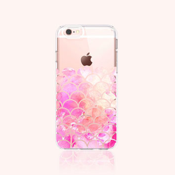 iPhone 6s Case Clear Scallop iPhone 6S Plus Case Clear Scallop Watercolor iPhone 6 Case Clear Samsung Galaxy Note 5 Clear Pastel Rose Pink