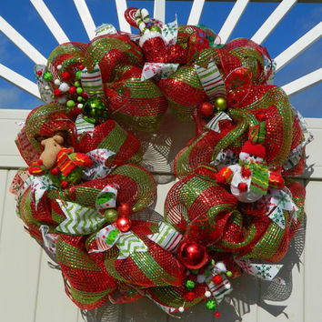 Christmas Wreath - Snowman, Reindeer, Santa Wreath Red and Green Striped Deco Mesh Wreath - Xmas Wreath - Holiday Wreath - Christmas Decor