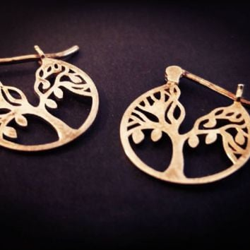 Tree of Life Sterling Silver Small Hoop Earrings