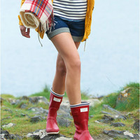 Red Seafarer Womens Nautical Rain Boots  | Joules US