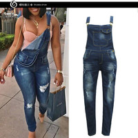 Faded Ripped Women's Denim Overalls