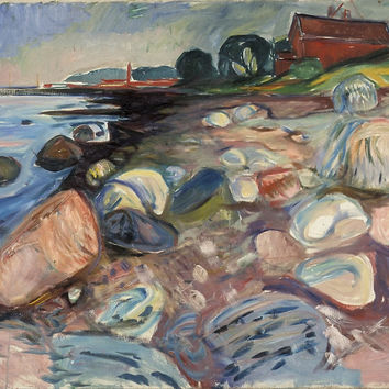 'Edvard Munch, (), SHORE WITH RED HOUSE' by artisticpanda