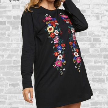 Floral Embroidered Tee Dress - Black - Small or Medium only