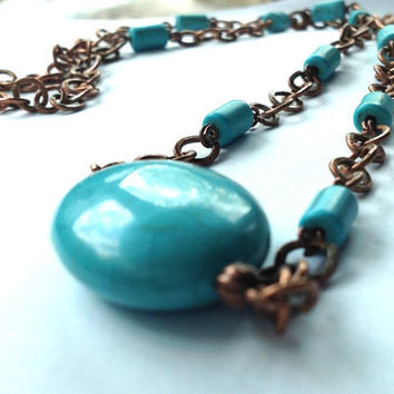 Bohemian Copper and Turquoise Long Layering Chain Necklace