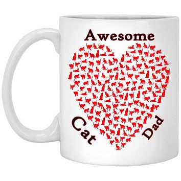 Awesome Cat Dad Mug, Cat Lovers Ceramic Coffee Cup With Comfort Grip Handle