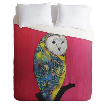 Clara Nilles Owl On Lipstick Duvet Cover