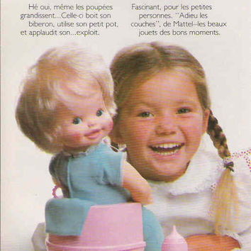 1982 French Mattel Bye Bye Diapers Doll Advertisement Mattel Advertisement Adieu les Couches Vintage Potty Doll Childhood Memories