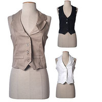 Women Sexy Classic Haltered Open Back Button Down Cropped Vest Top Shirt