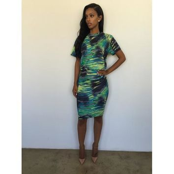 Fashion Women Sexy Psychedelic Colorful 2pcs Bodycon Dress