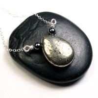Pyrite Necklace - Simple gemstone pendant necklace - teardrop pendant