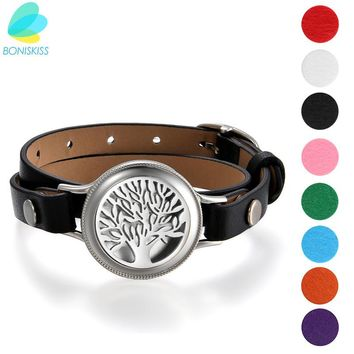 Boniskiss 2017 leather wrap bracelet 25mm Stainless Steel Essential Oil Diffuser Life Tree Locket Aromatherapy( 8 pads For )