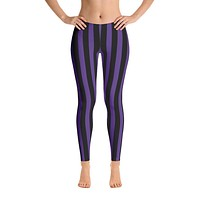 Purple and Black Stripes Leggings