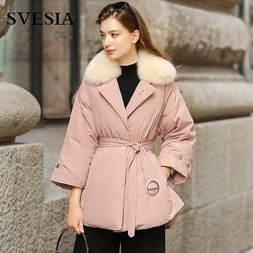 2017 high quality winter down coat women real fox fur collar pink loose jacket female sashes warm parka for women big plus size